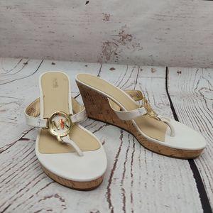 Michael Kors Palm Beach Cork Wedge Sandals Wht 9.5